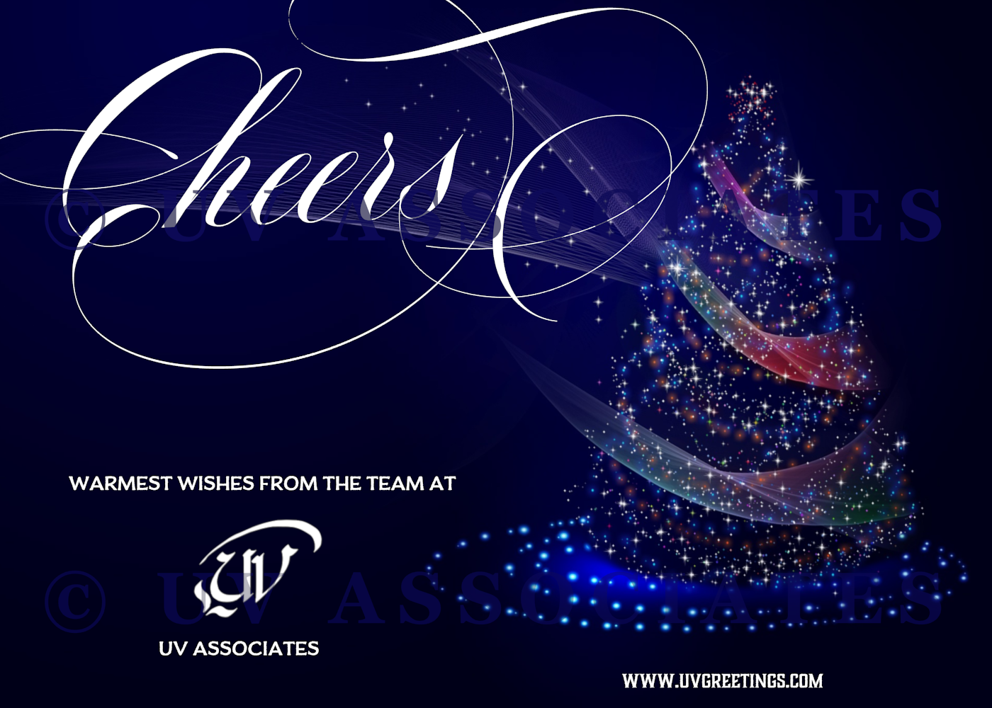 Cheers - Christmas Corporate Card Dark Blue background