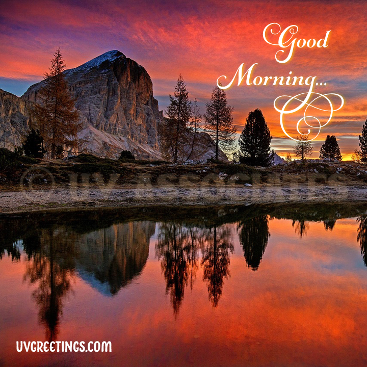 Good Morning Image with Dolomites Mountains and Script with Swirls