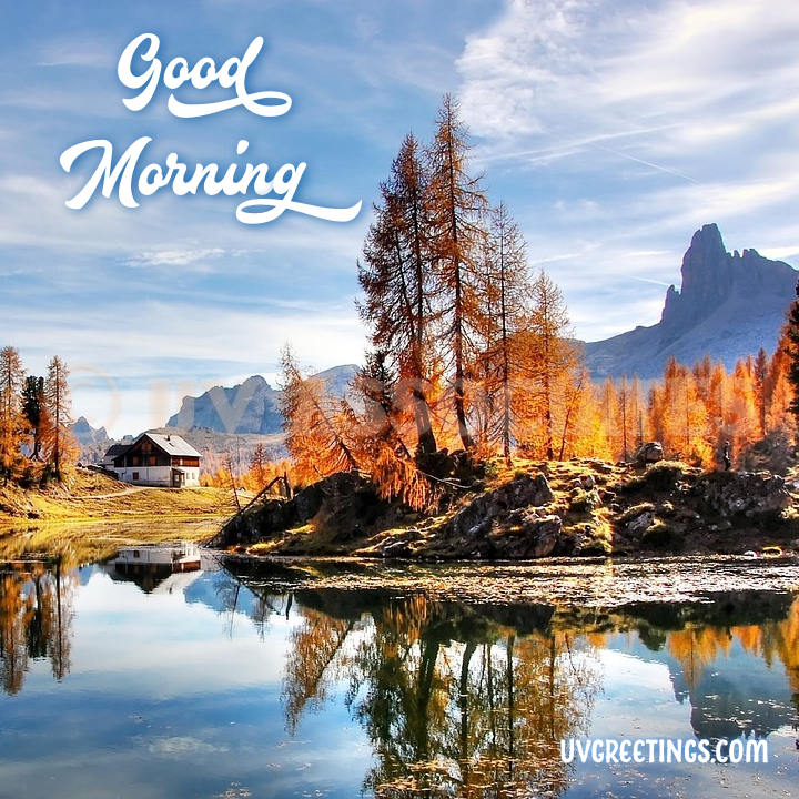 Good Morning wish with scenery that transport peace and tranquility.