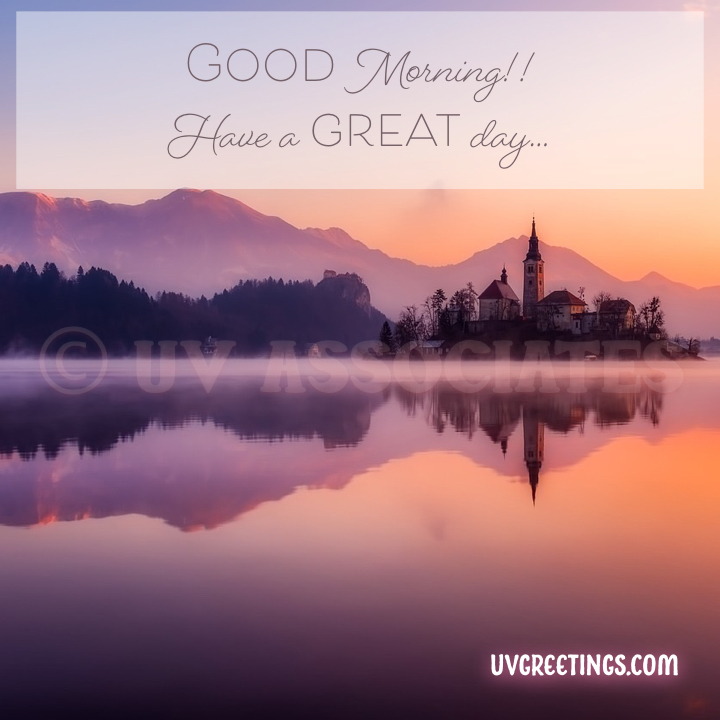 Mountain, soft pastel shades of mauve and yellow and elegant lettering for a graceful morning wish