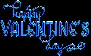 Blue Aqua Happy Valentine's Day Text Clip-art
