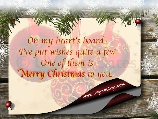 Merry Christmas Postcard - Heart's Pinboard