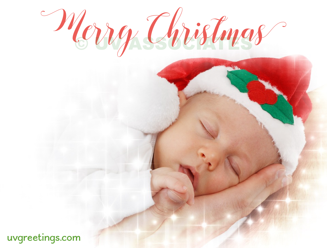 Baby Sleeping on Parent's Hand, Adorable Merry Christmas eCard