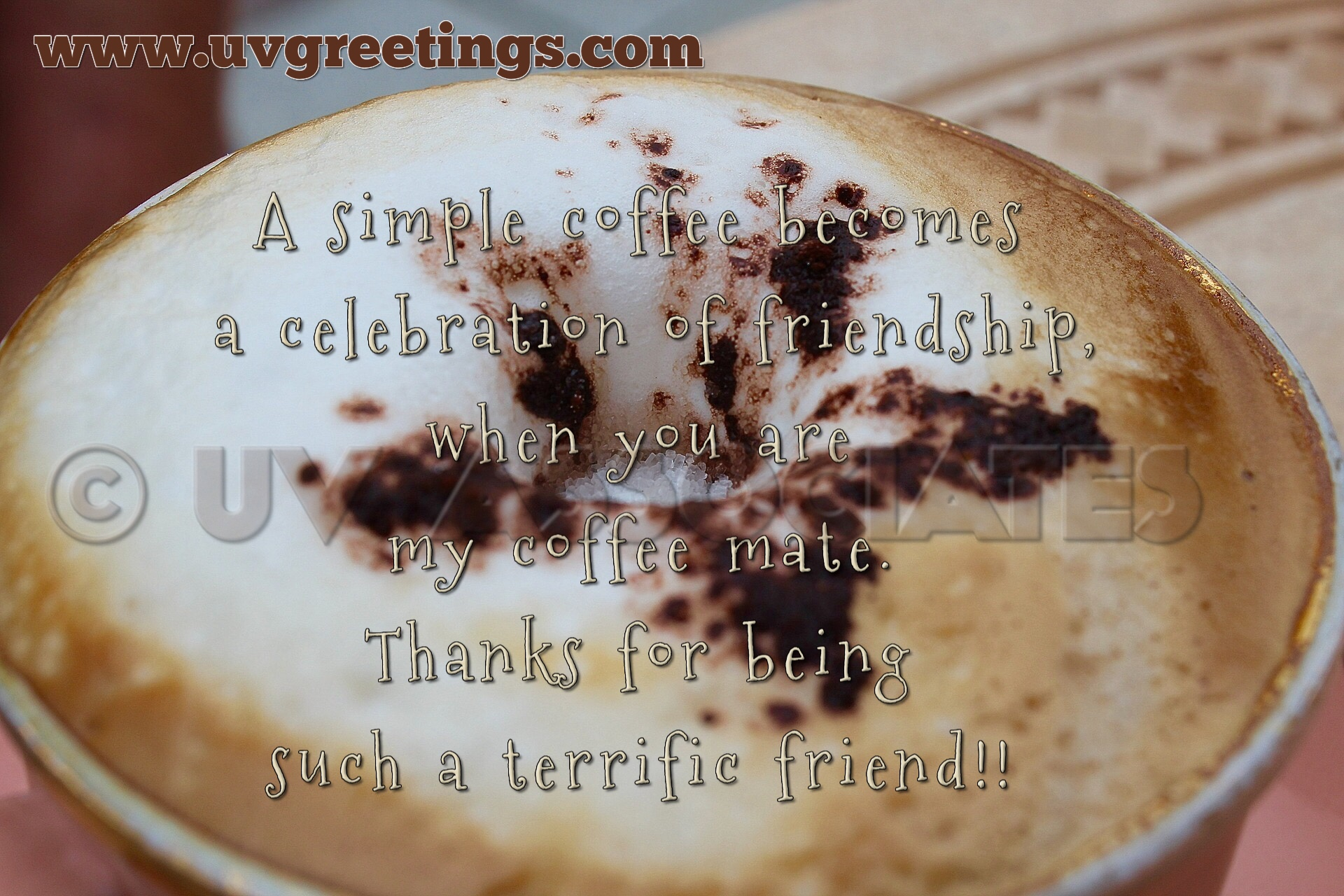 Thank You friend eCard - Coffee Cup becomes Celebration