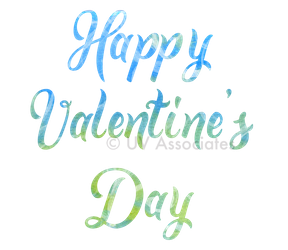 Happy Valentine's Day Script Blue Green Watercolor Textured