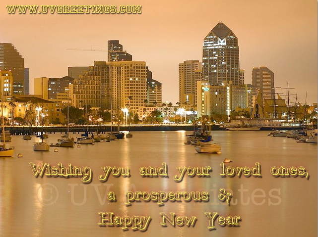 Happy New Year to Loved Ones - City Lights and Reflection in Water