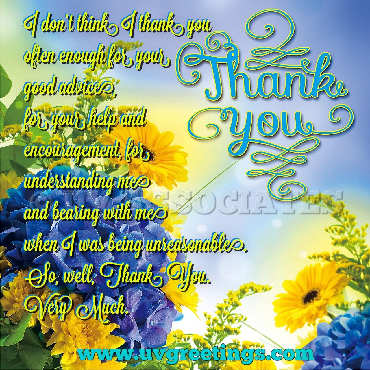 Thank you friend eCard - Bright Flowers and Typography