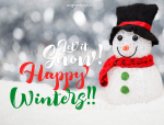 A Snowman and Happy Winters text